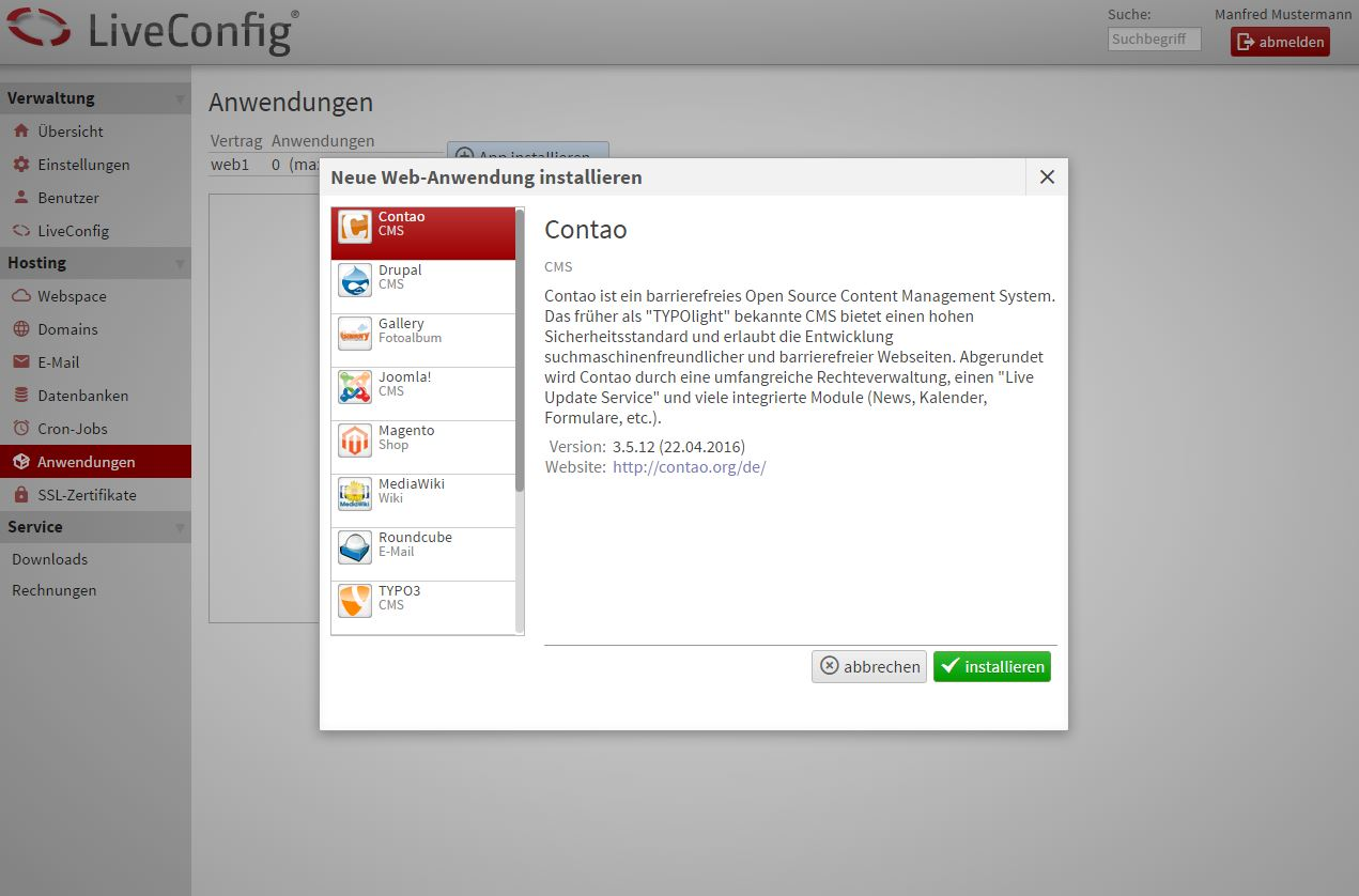 Liveconfig-screen-anwendungen